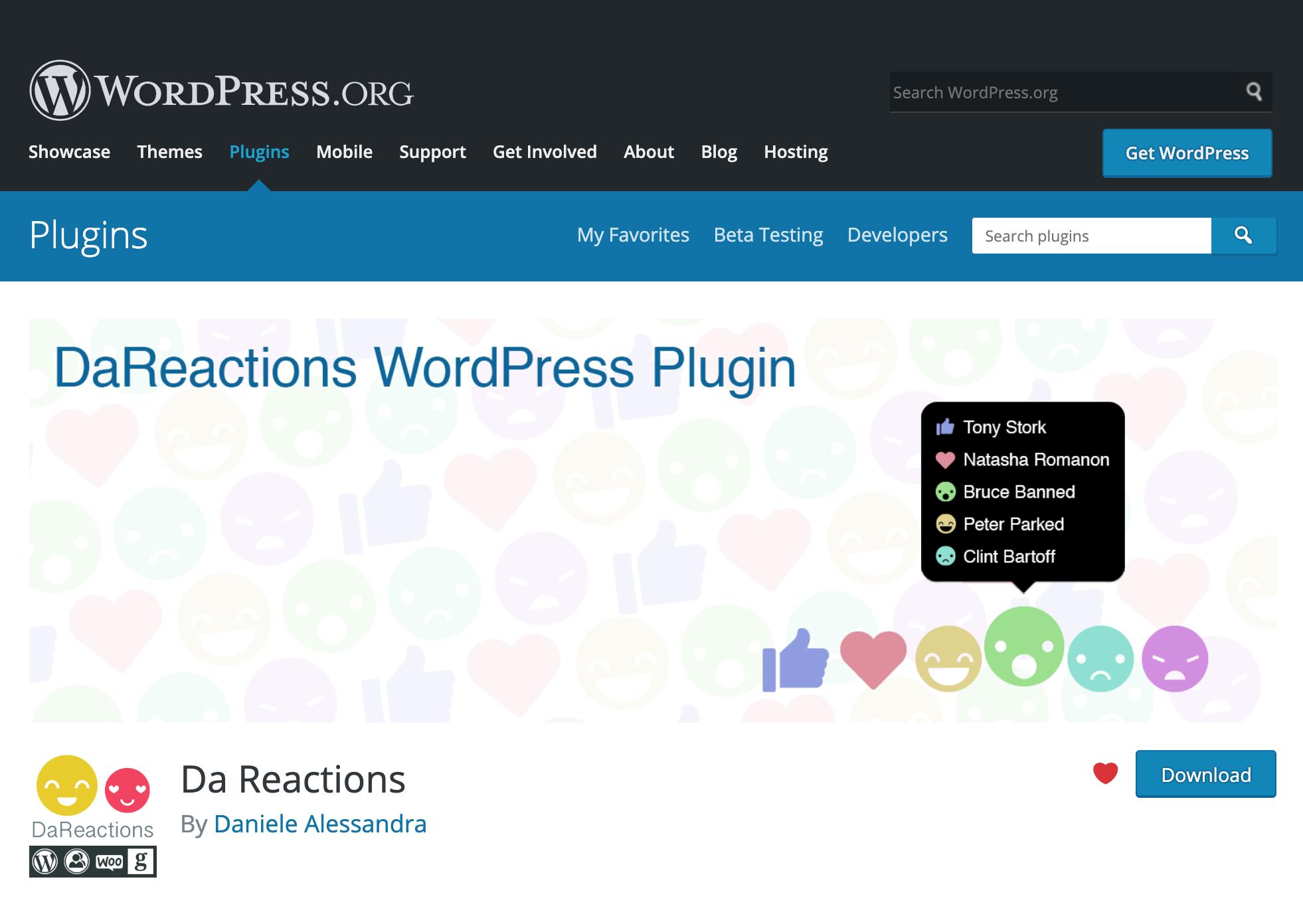 DaReactions screen on WordPress.org