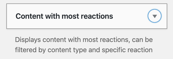 Content wit most Reactions Widget.