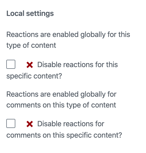 Reactions settings for single post.